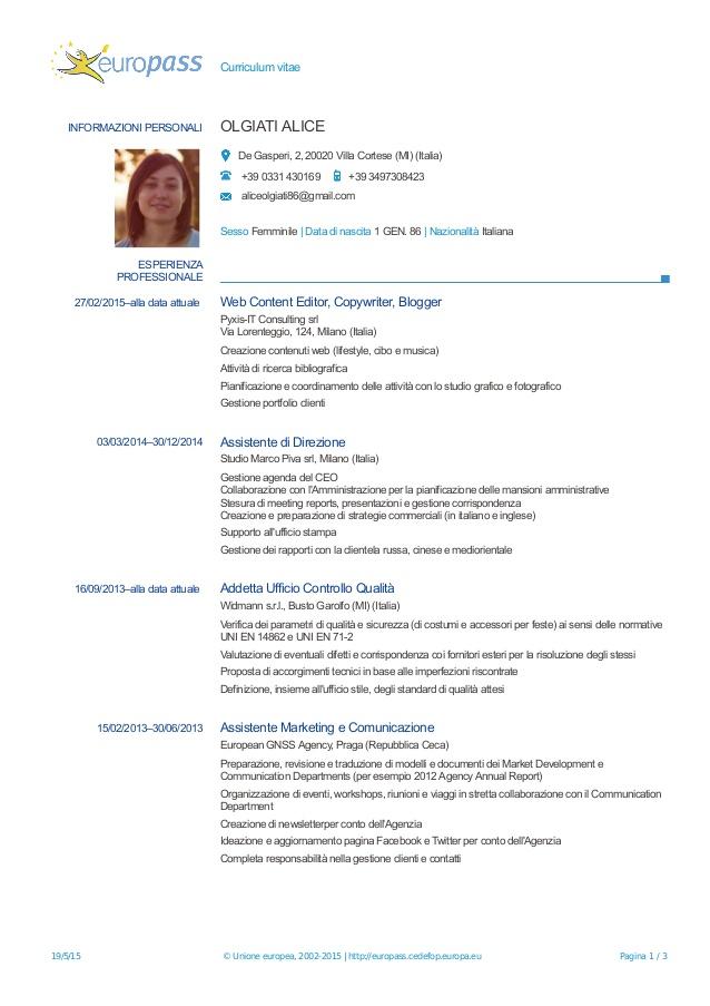 europass curriculum vitae esempio