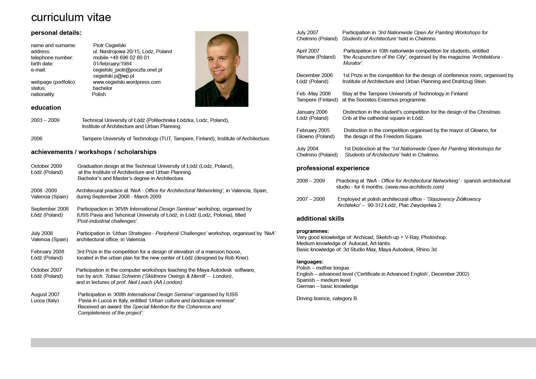 curriculum vitae in english examples