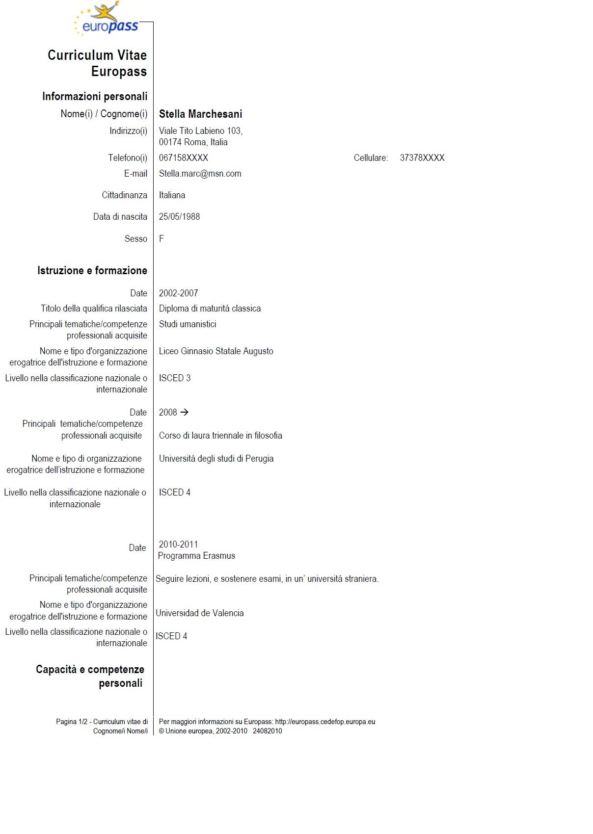 Modello curriculum vitae formato europeo