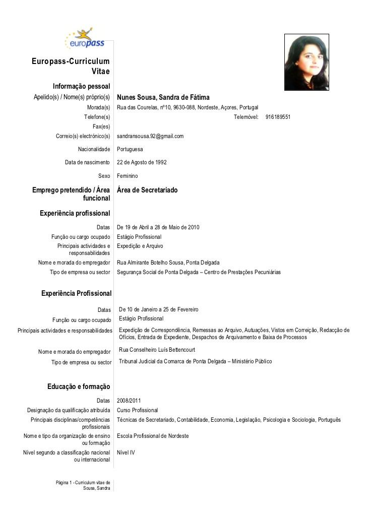 curriculum vitae en portugues