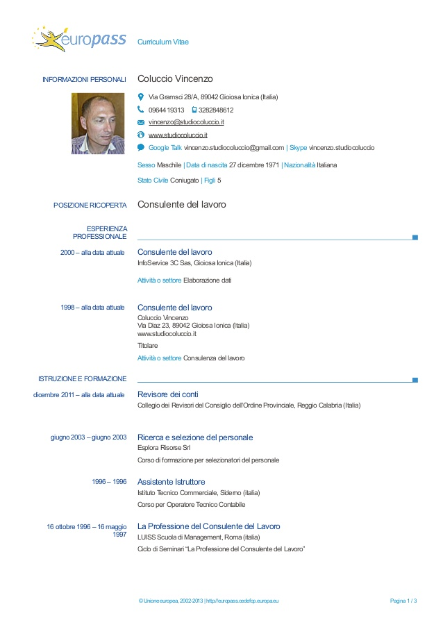 Modello Di Curriculum Vitae Europeo Laboite Cv Fr