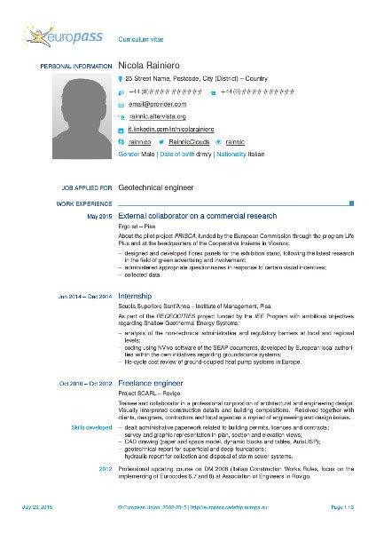 esempi di curriculum vitae europass