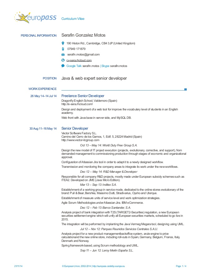 exemple de cv europass developpeur web