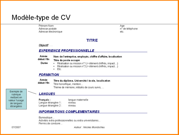 Exemple De Curriculum Vitae Etudiant Laboite Cv Fr