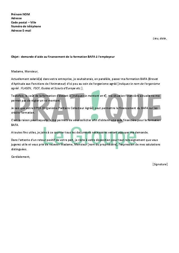 lettre de motivation pour une aide financi u00e8re