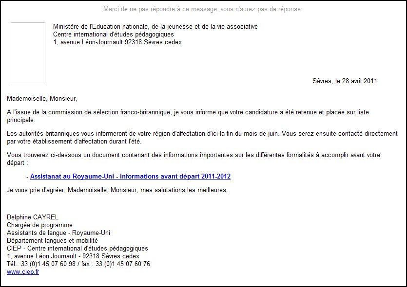 exemple de mail pour envoie de cv