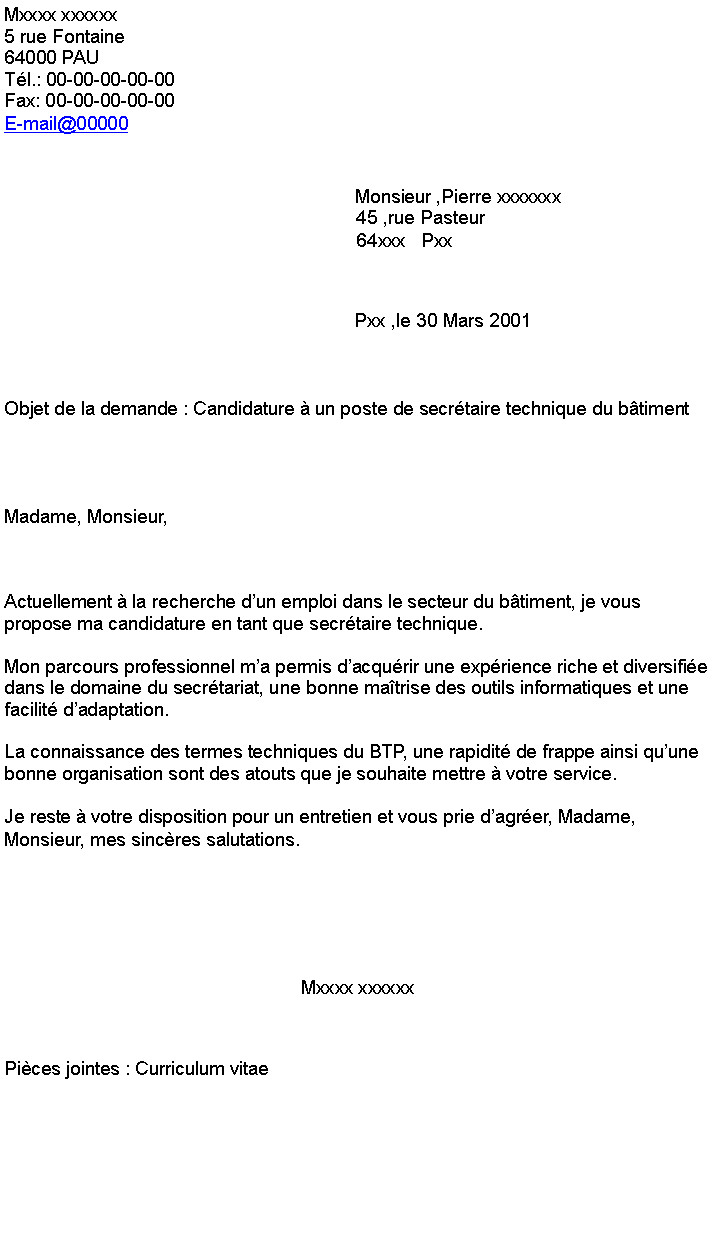 exemple lettre de motivation btp