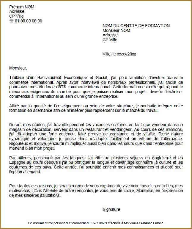Lettre De Motivation Projet Professionnel Exemple: Lettre De Motivation Bts Profession Immobiliere Alternance