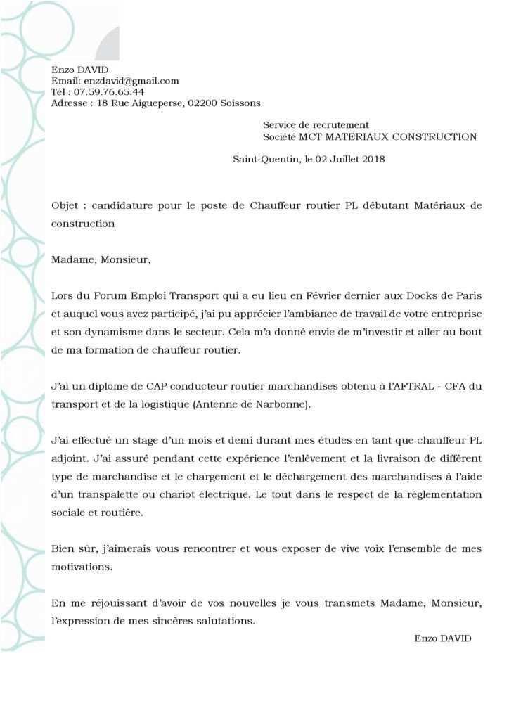 lettre de motivation conducteur routier d u00e9butant