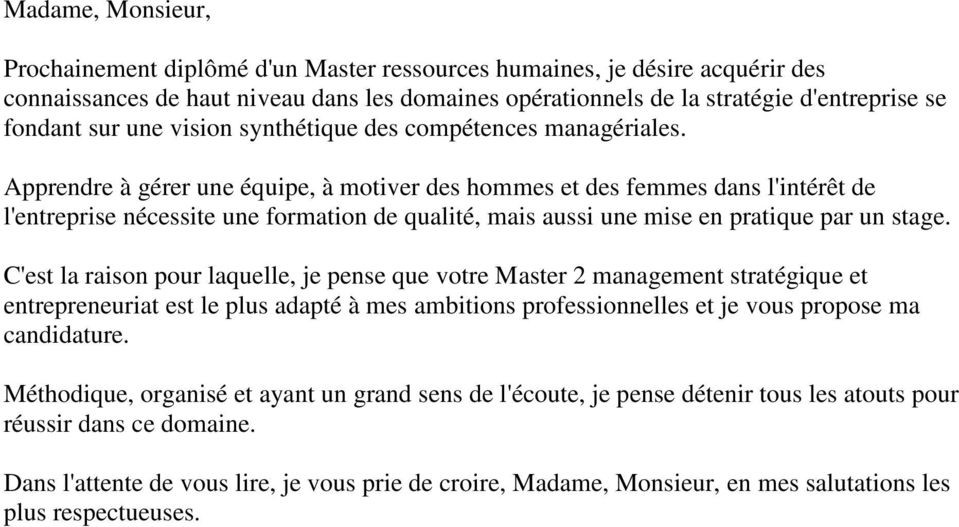 lettre de motivation master entrepreneuriat