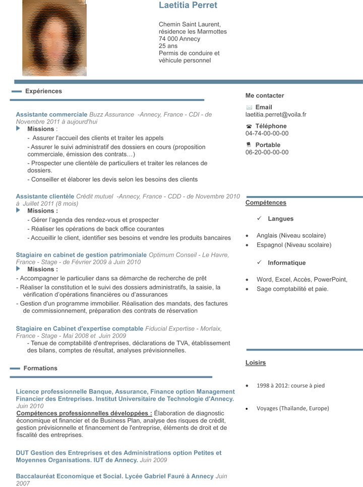exemple de cv assistant conseiller financier