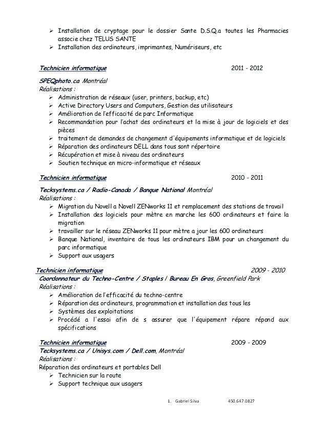 Exemple de cv analyste en bio-informatique