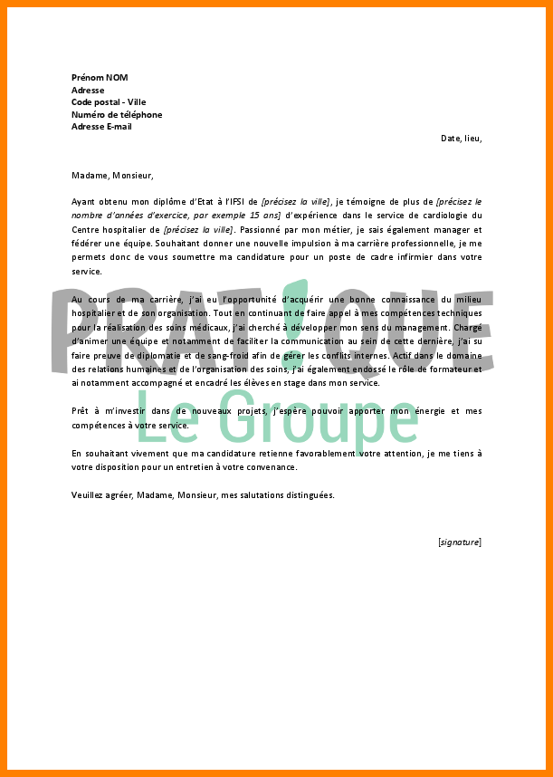 lettre de motivation infirmier psychiatrie