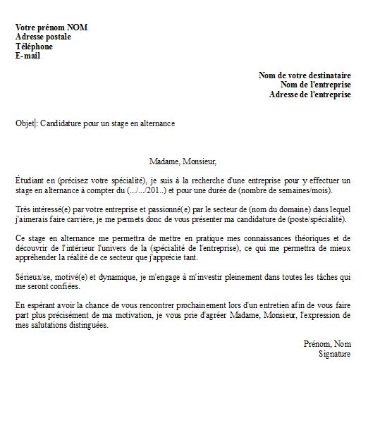 Lettre de motivation poursuite d'étude