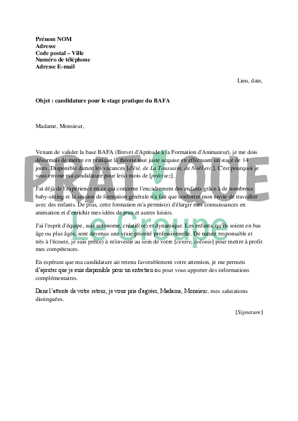exemple de cv stage pratique bafa