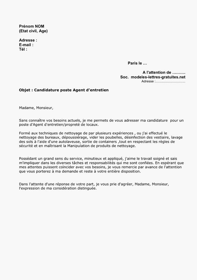 lettre de motivation gratuite agent d u0026 39 entretien