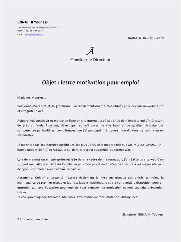 lettre motivation agent de maintenance