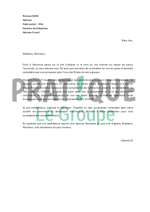 lettre de motivation agent de tri courrier