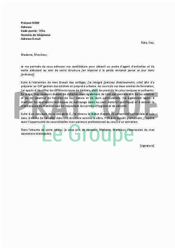 lettre de motivation agent dentretien