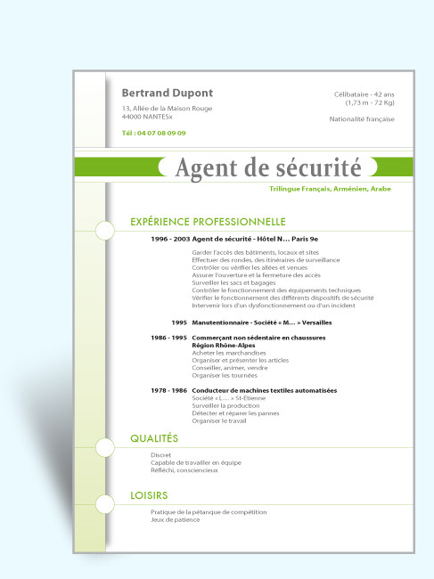 exemple cv agent de s u00e9curit u00e9 quebec