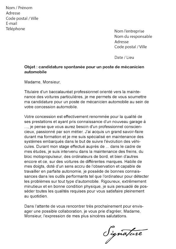 lettre de motivation pour un apprentissage en mecanique