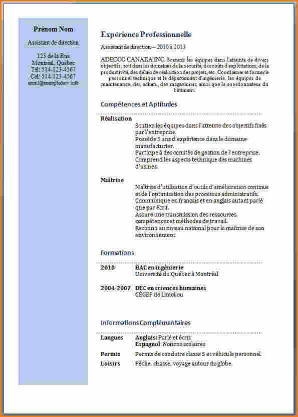 exemple de cv assistante manager