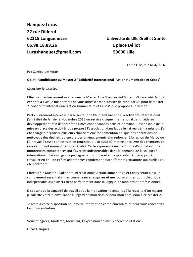 lettre de motivation volontariat humanitaire