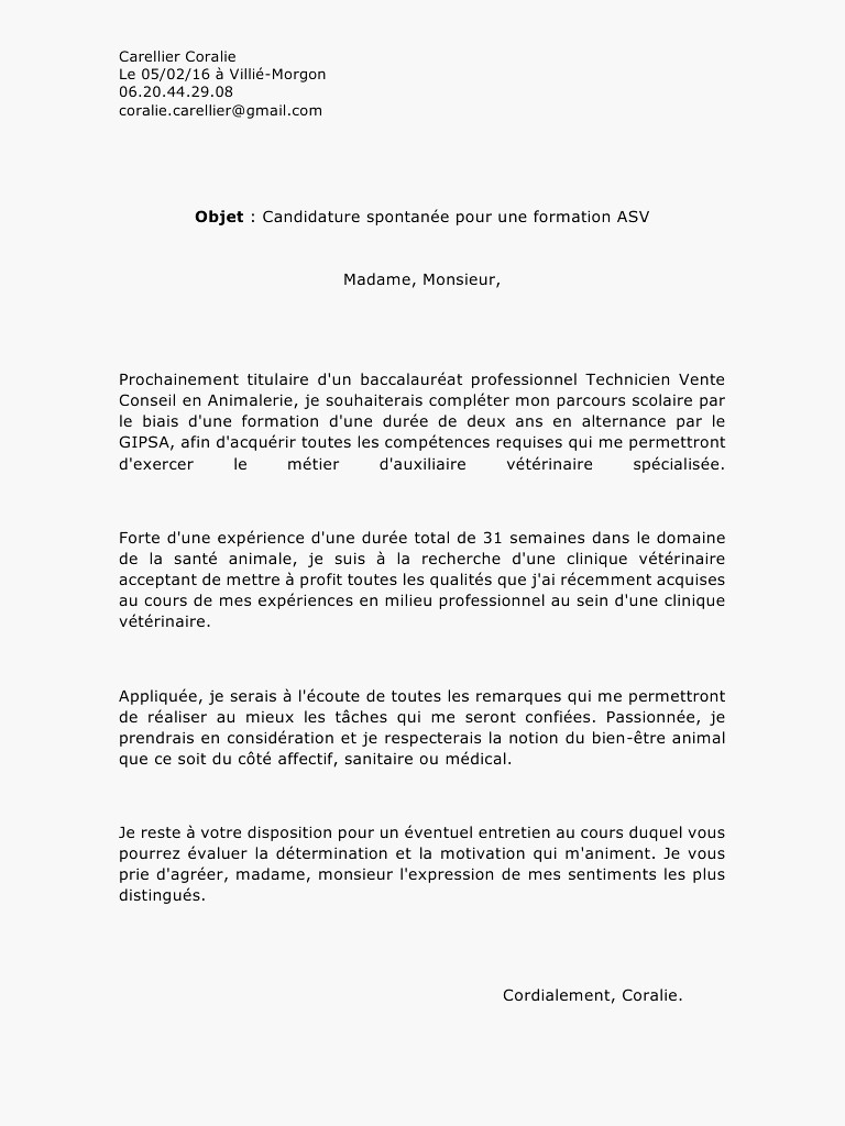 lettre de motivation bac pro commerce alternance