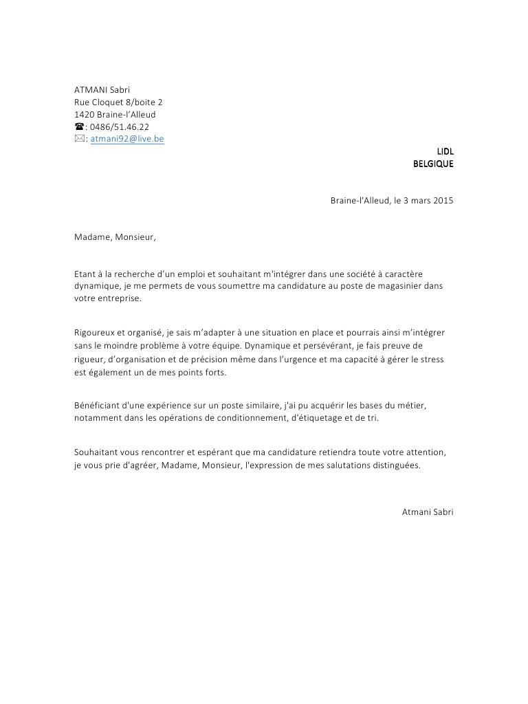 lettre de motivation belgique