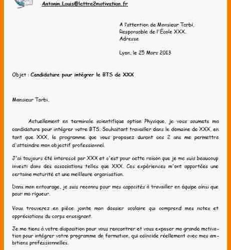 lettre motivation bts assistant de gestion