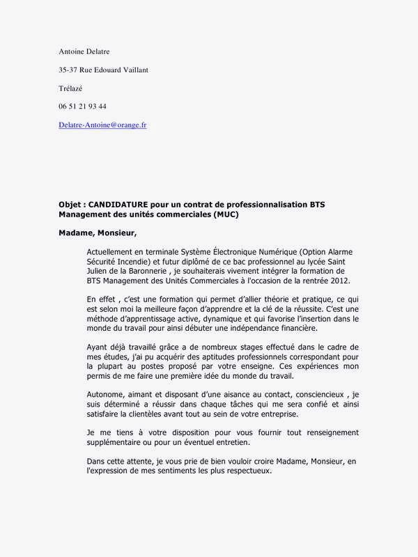 lettre de motivation pour bts systeme numerique