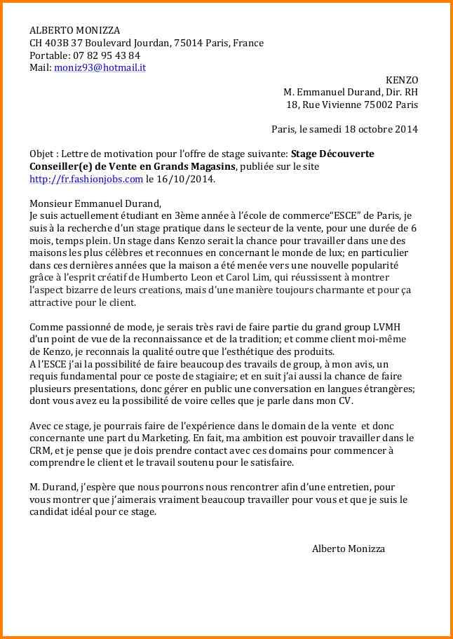 lettre de motivation candidature ecole