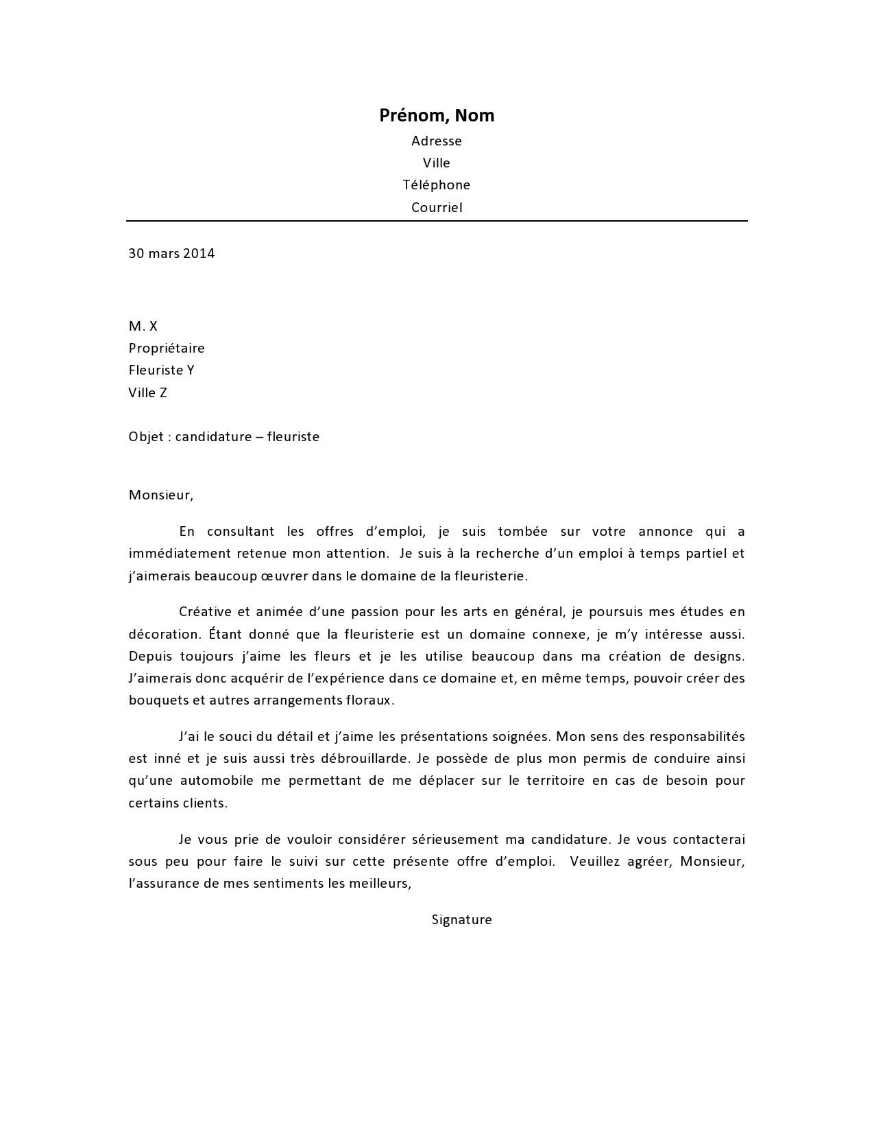 lettre de motivation cap fleuriste
