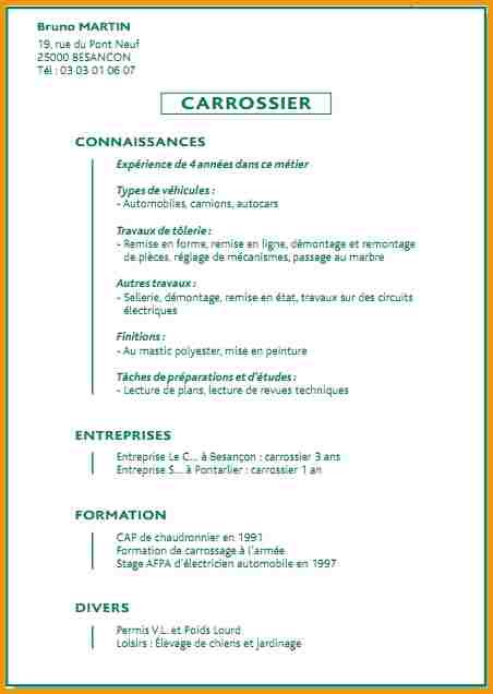 exemple de cv carrossier automobile