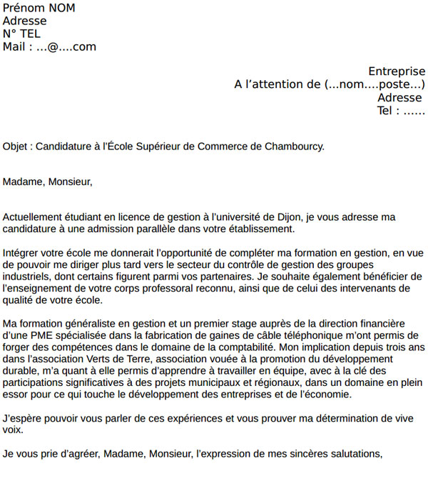 lettre de motivation chanel