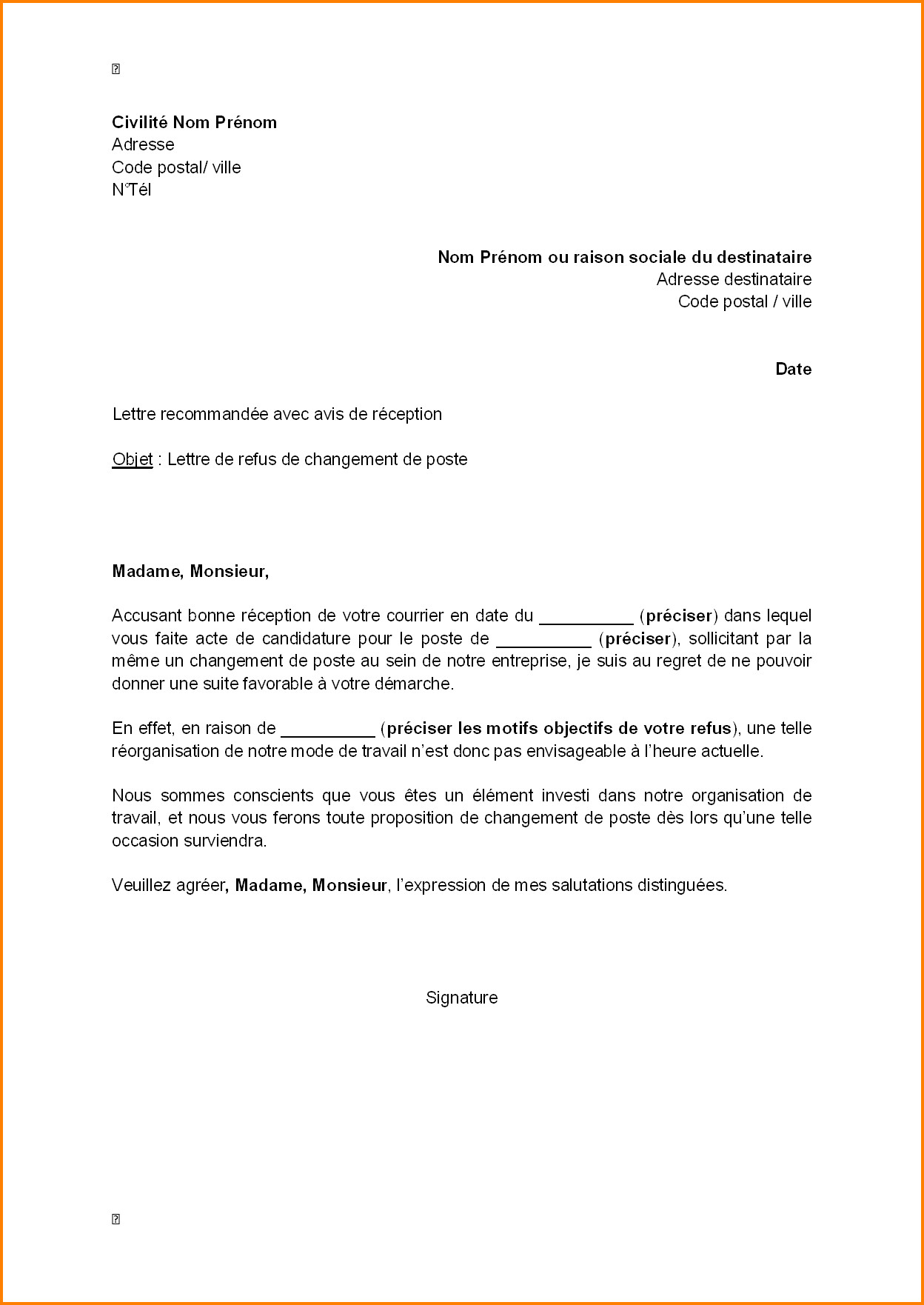 lettre de motivation changement de poste interne hopital