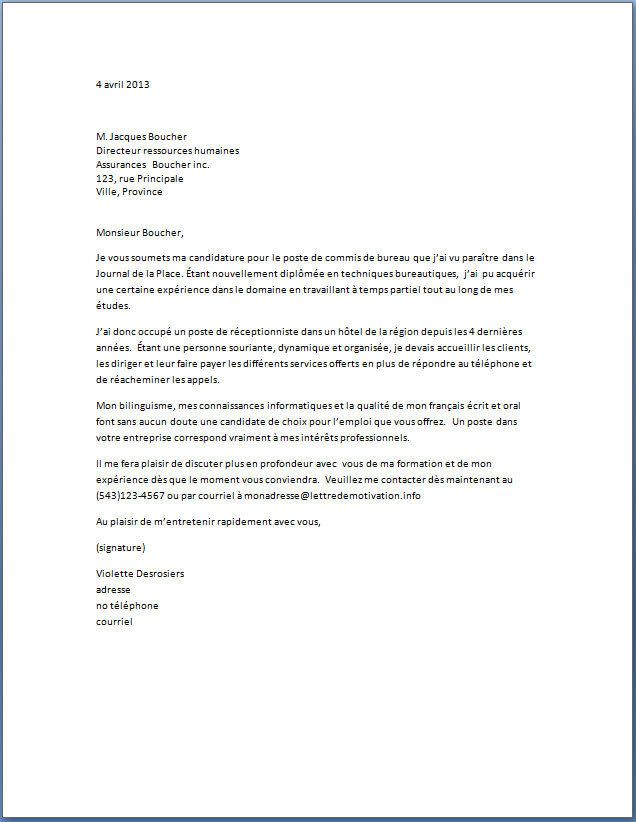 lettre de motivation pour renouvellement de titre de