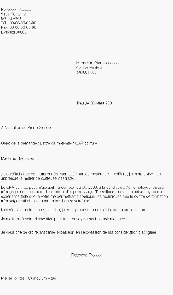lettre de motivation apprentissage vente cap