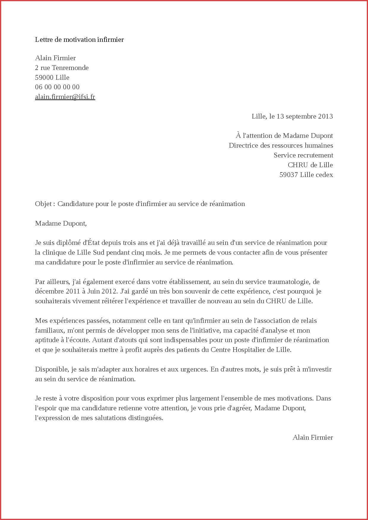 lettre de motivation concours sur titre fonction publique hospitaliere