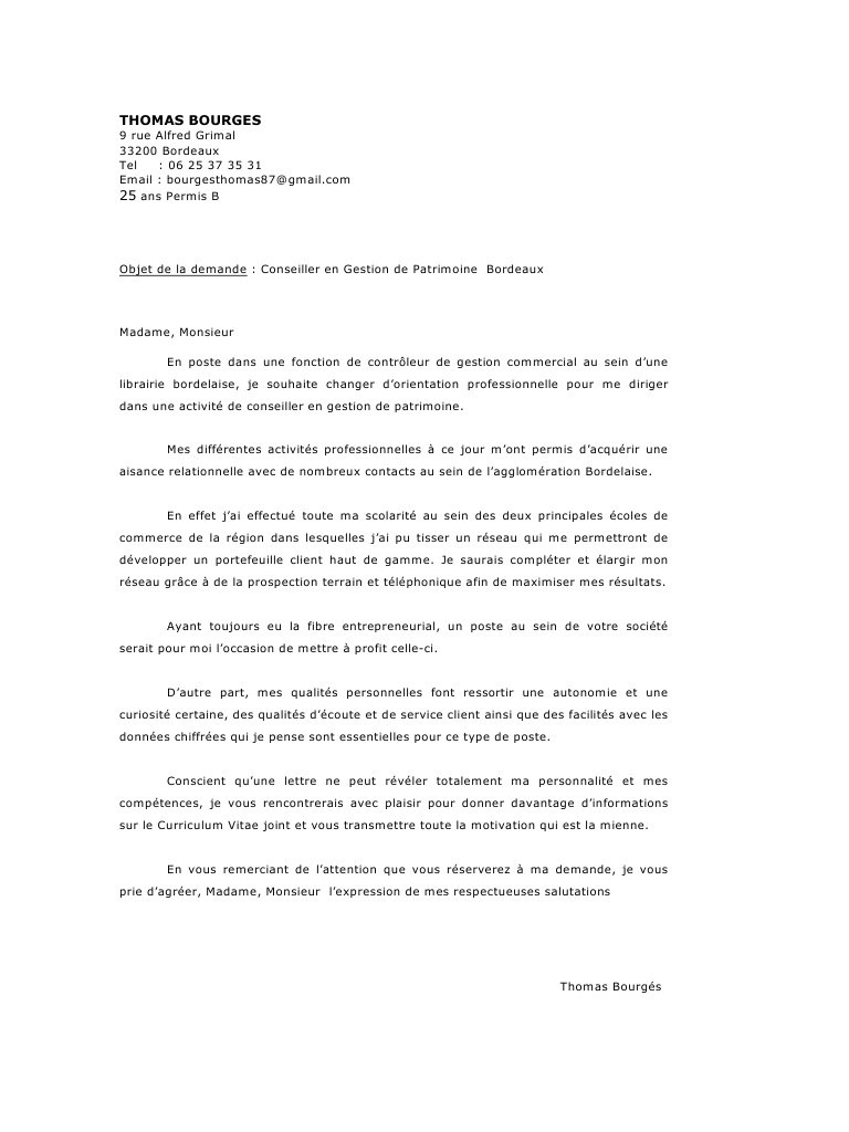 lettre de motivation controleur de gestion