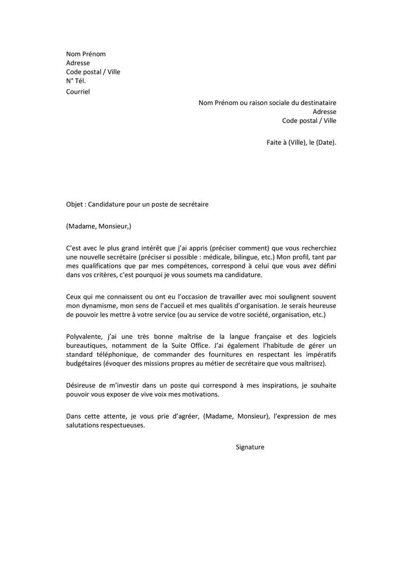 lettre de motivation secretaire concession automobile