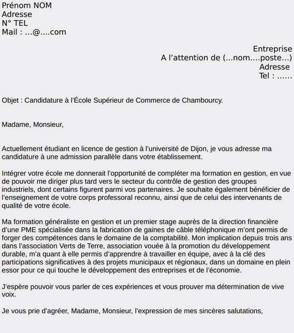 lettre de motivation postbac
