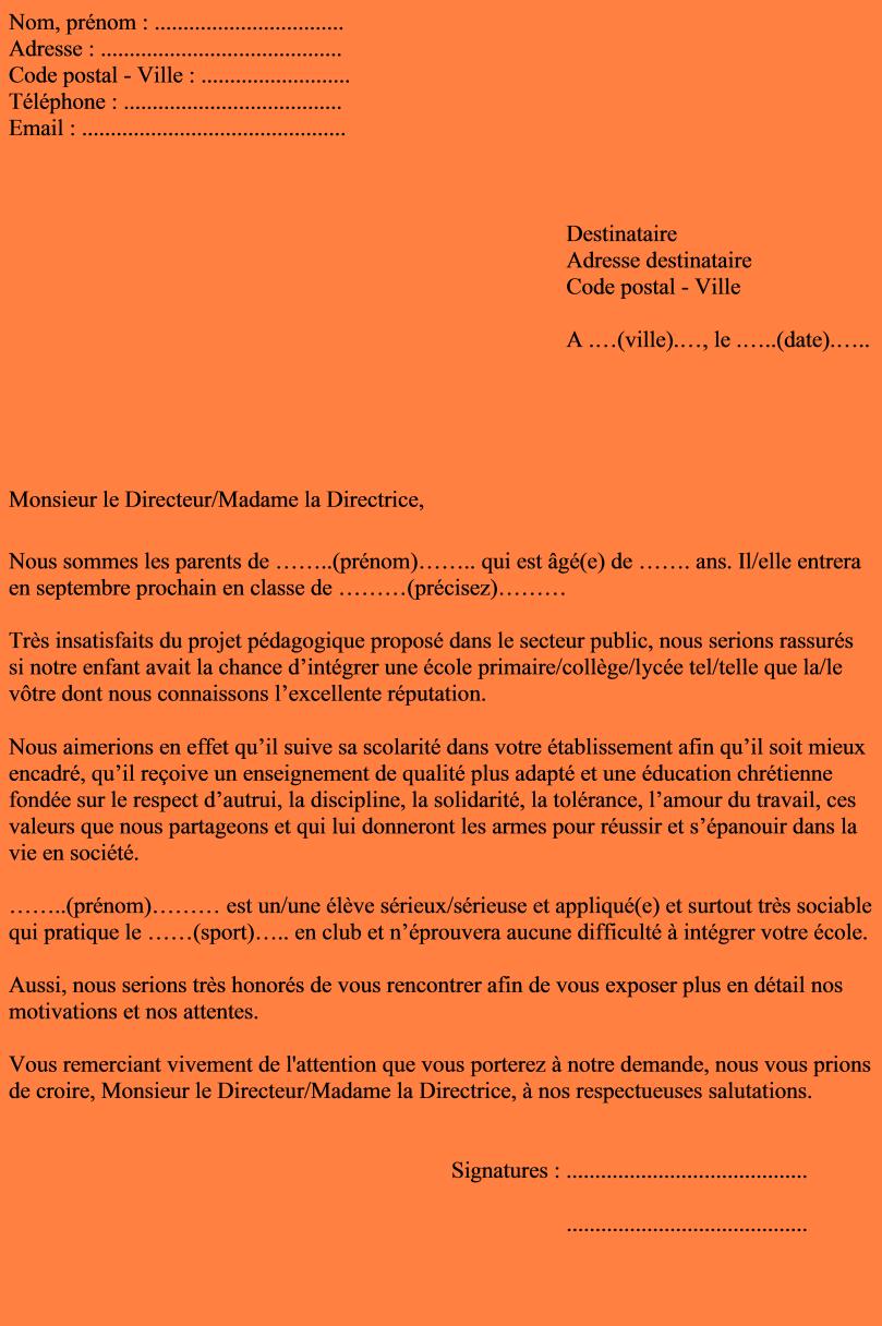 lettre de motivation pour travailler dans les ecoles