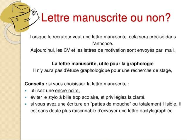 lettre de motivation ordi ou manuscrite
