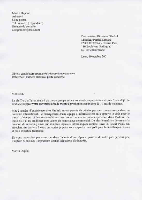 lettre de motivation  u00e9crite ou informatique
