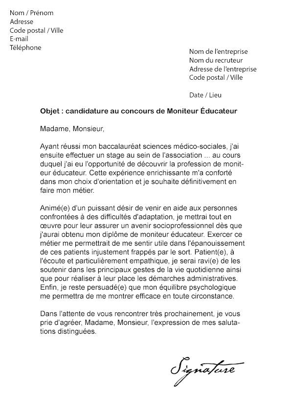 lettre de motivation educateur sp u00e9cialis u00e9 candidature