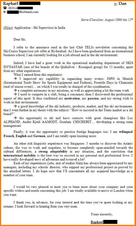 Présentation lettre de motivation en anglais