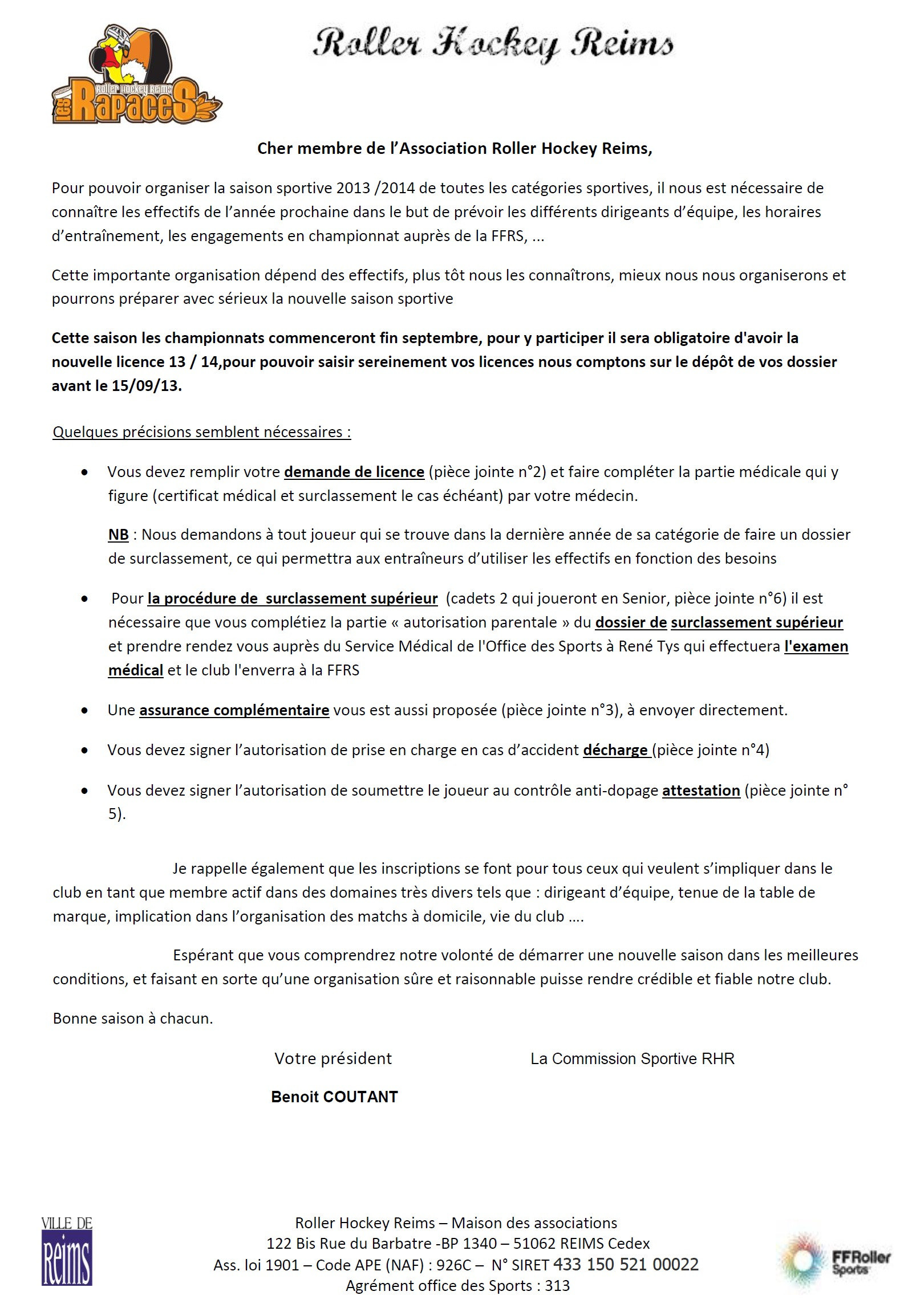 lettre de motivation association sportive
