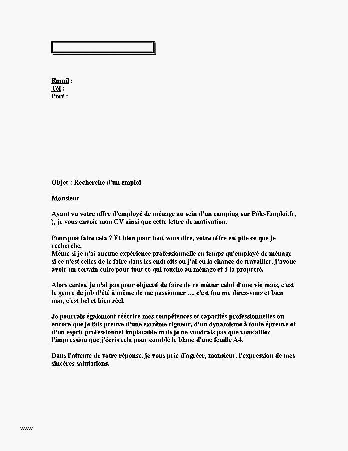 lettre de motivation employ u00e9e de m u00e9nage