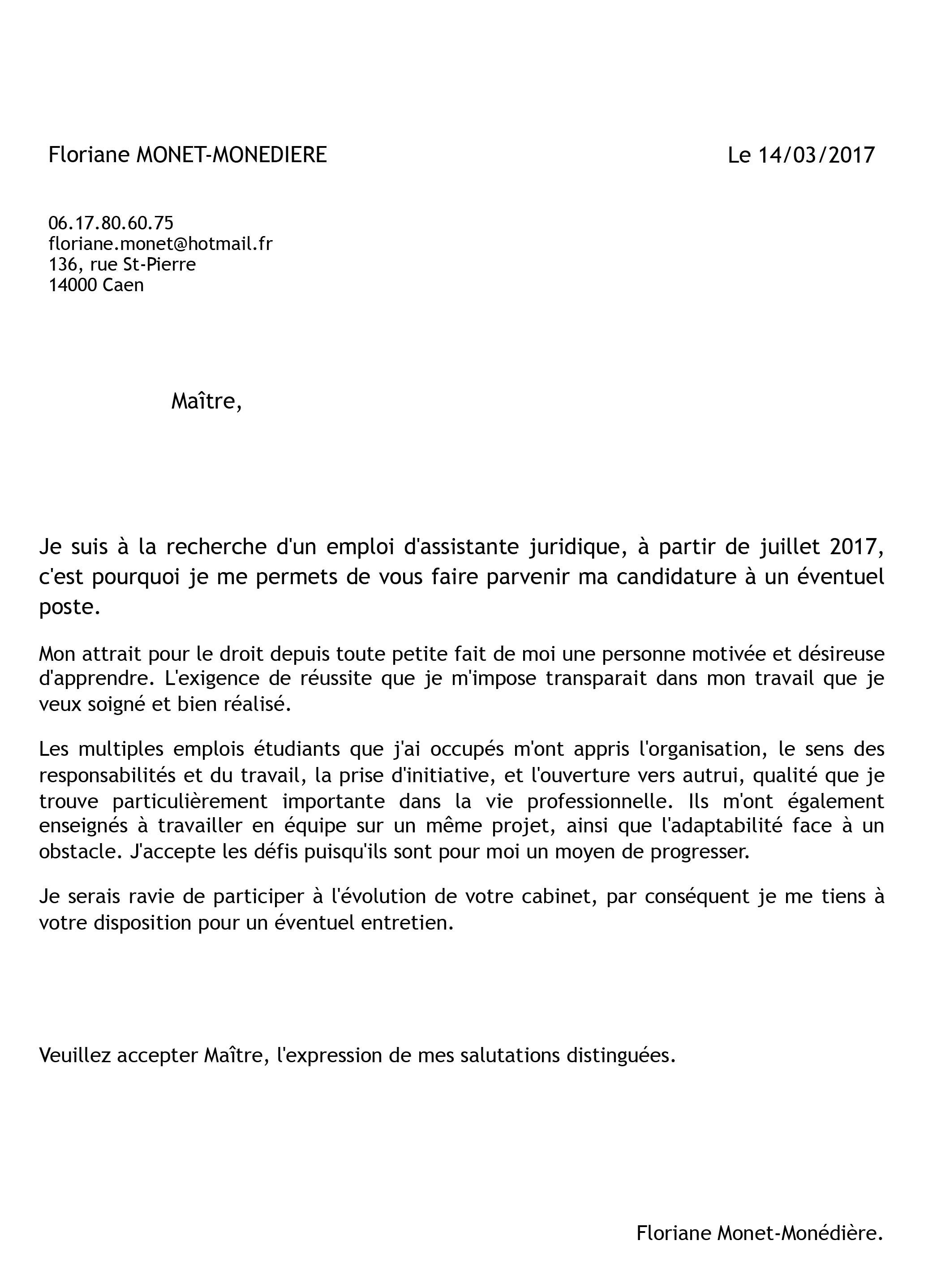 lettre de motivation pour flunch